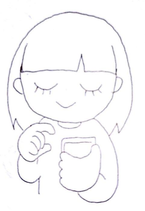 女性がスマホを操作していることを表現した手書きの絵