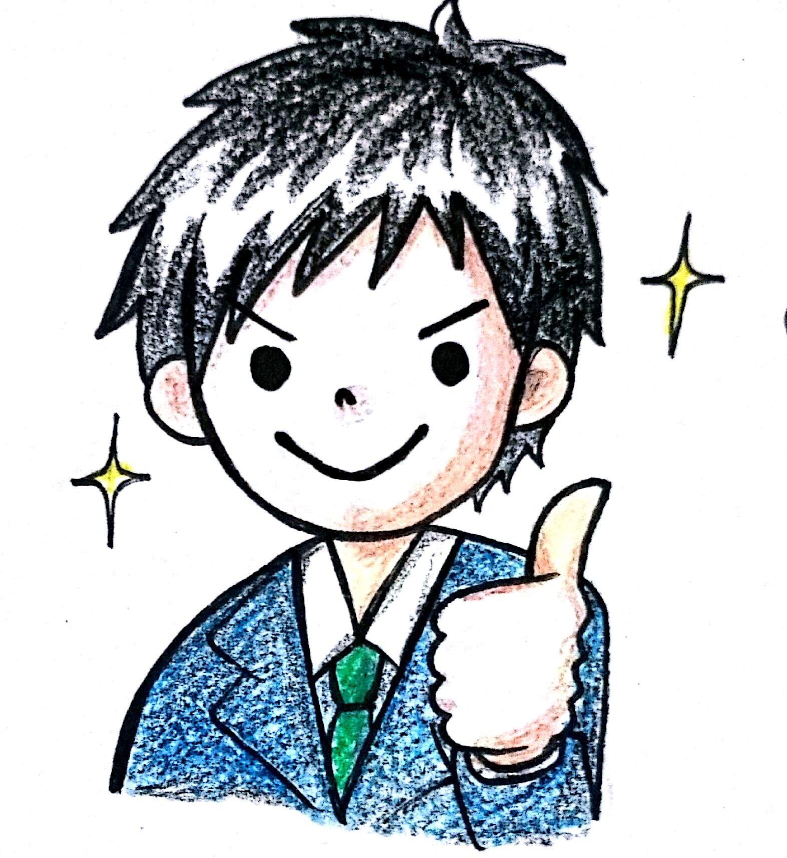 若いお兄さんが親指をたててgood!としている状態を表現した手書きの絵