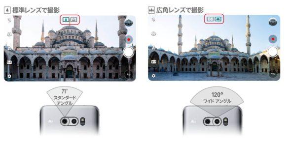 isai V30+ LGV35の標準レンズと広角レンズを比較している。